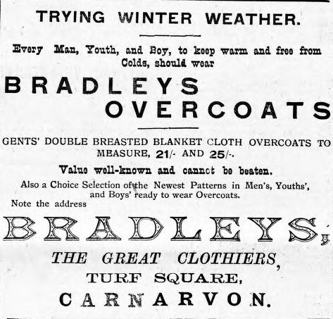 Advert for Bradleys. Carnarvon & Denbigh Herald 23rd December 1910. © K. Morris