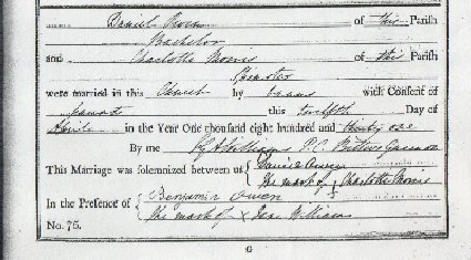 The marriage entry for Daniel Owen & Charlotte Morris at Llanbeblig Church © Gwynedd Archives Service
