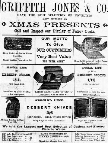 Advert for Griffith Jones. Carnarvon & Denbigh Herald 23rd December 1910. © K. Morris