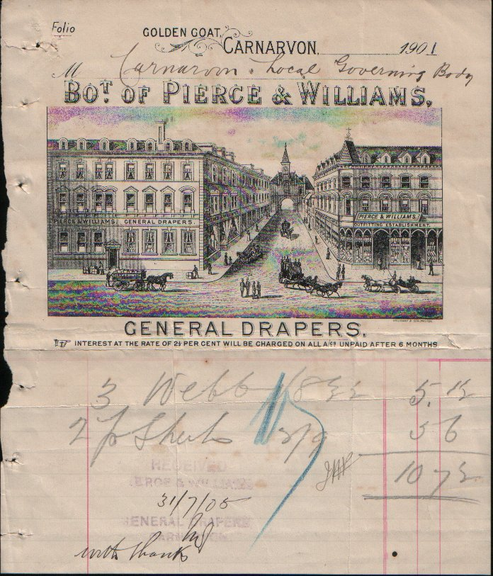 Pierce & Williams, General Drapers. Dated 1901. The image is greatly exaggerated, the reality was something of a letdown.