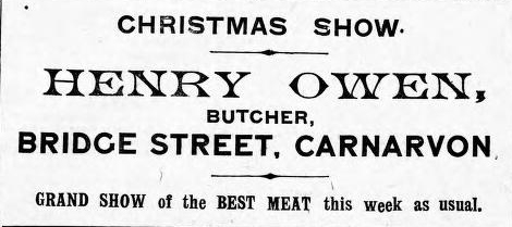 Advert for Henry Owen. Carnarvon & Denbigh Herald 23rd December 1910. © K. Morris