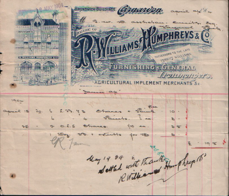 R. Williams, Humphreys & Co. Successors to the late Robert Williams, Furnishing & General Ironmongers. Dated April 1904.