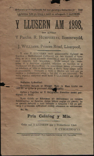 1898 advertising leaflet for Welsh religious journal 'Y Llusern'