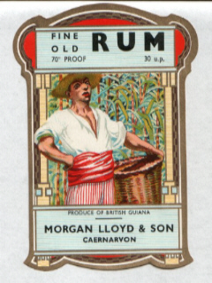 Rum label as used by Morgan Lloyd & Son, Wine & Spirit Merchants