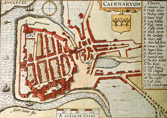 John Speed plan of Carnarvon 1611. © K. Morris
