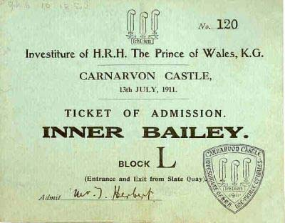 Ticket for entry into the Castle for the ceremony. © K. Morris