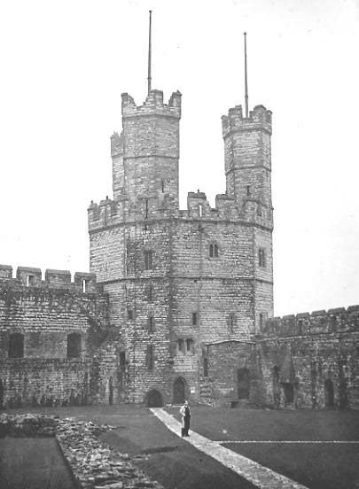 The Eagle Tower after the new flagpole had been erected. J. E. Jones can be seen in the foreground. © Mrs. A. Williams