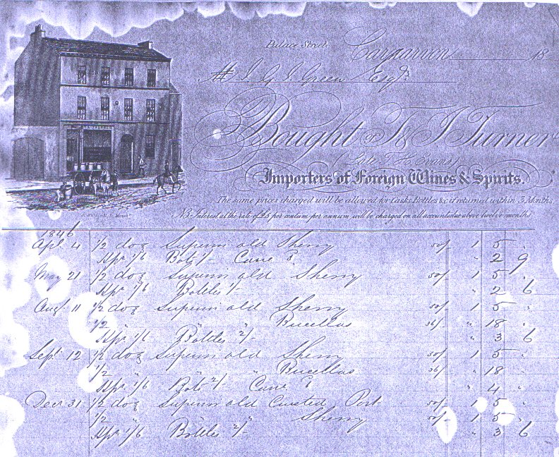 T. & J. Turner, Importers of Foreign Wines & Spirits, Palace Street. Dated 1846