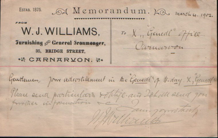 W. J. Williams. Furnishing & General Ironmonger. Dated March 4th. 1902.